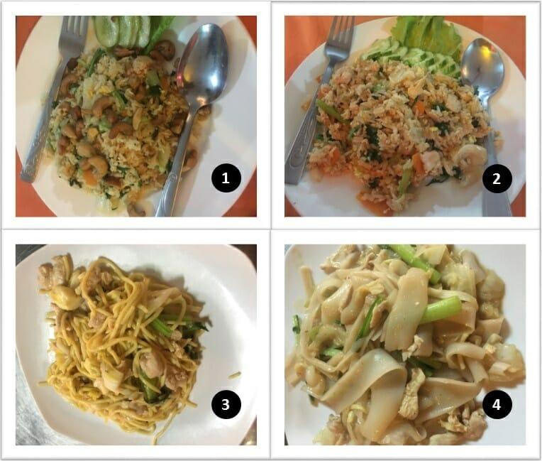 Nourriture au Cambodge avec riz frits et nouilles sautées